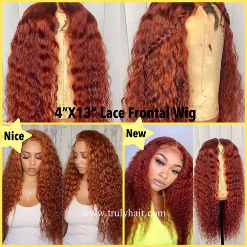 4X13 lace frontal wig loose curl orange color