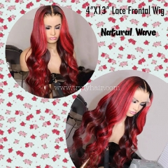 4X13 lace frontal wig natural wave customized wig