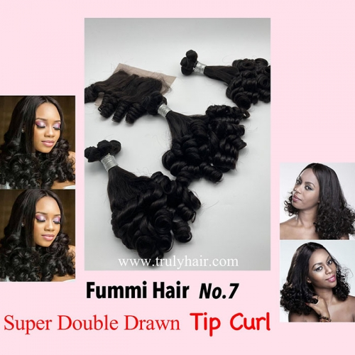 Free closure ! Funmi hair tip curl 3 pcs with 1 pc free closure