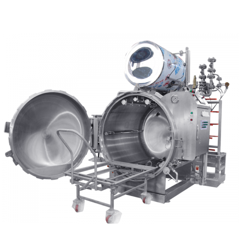 Hot water spray type retort sterilizer