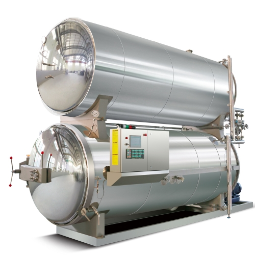 Hot water immersion type retort sterilizer