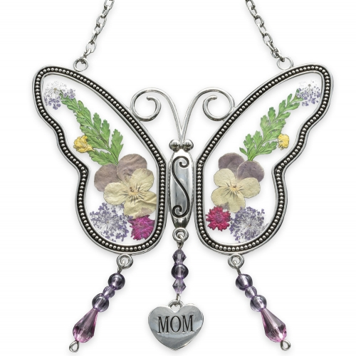 Buckstore Mom Butterfly Mother Suncatcher with Pressed Flower Wings