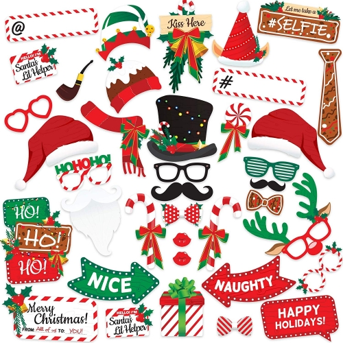 Christmas Photo Booth Props Kit(38Pcs)