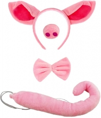 Pig Costume,Pig Costume with Ear Headband and Nose Ears Tail Set-One size Fits Kids (Pink)
