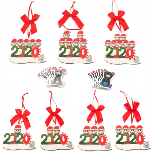 2020 Christmas Ornaments with Masks 7Packs(1-7 Members) with Pet Doggy and Kitty Personalized Survived Family Decoration Holiday Greeting Cards