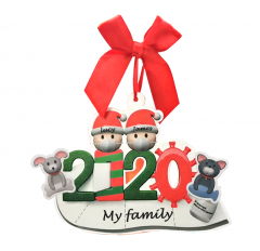 2020 Christmas Ornaments with Masks 7Packs(1-7 Members) COVID Quarantine Christmas Ornaments with Pet Doggy and Kitty Personalized Survived Family