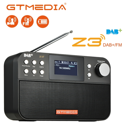 "GT Media Z3 Portable Digital Radio DAB+/FM RDS Multi-band Radio Speaker Stereo, 2.4"" LCD Display Alarm Clock External Antenna,18650 Chargeable Battery"