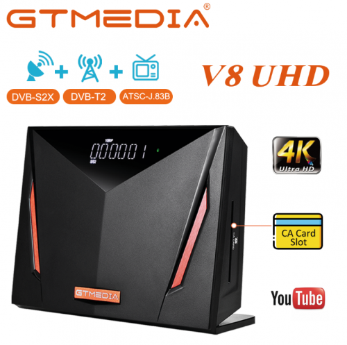 GTMEDIA V8 UHD 4K Combo TV Box With Smart Card Reader, Auto Biss Key, Multi-Room, T2-MI Sat Receiver DVB-S2X/T2/C Satellite Firmware