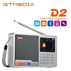 GTMEDIA D2 Portable Radio FM DAB Stereo / RDS Multi Band Radio Speakers with 2.4 inch LCD Display Alarm Support Micro SD TF Card