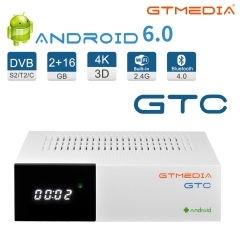 Android TV Box 6.0, GTMEDIA GTC Smart TV Box 2GB 16GB Set Top Box Quad-Core, BT 4.0, 2.4GHz WiFi, 3D 4K Media Player, DVB-S2/T2/C Sat Receiver
