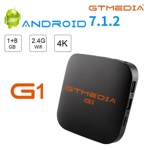 GTMEDIA G1 Android 7.1 TV Box 1GB RAM 8GB ROM Amlogic S905W Quad Core 64Bit 2.4GHz Wifi HDMI 2.0 Support 4K 3D/H.265 Android Box