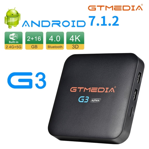 Android 7.1.2 TV Box, GTMEDIA G3A 2GB RAM 16GB ROM Amlogic S905X Quad Core Chip Support 2.4/5GHz Dual Wifi BT4.0 Ethernet 3D 4K H.265 Smart TV Box