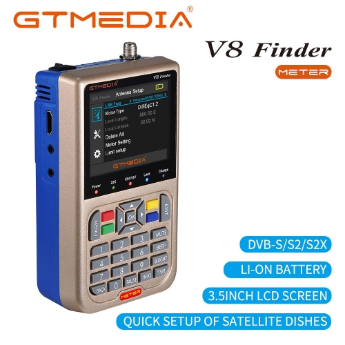 GTMEDIA V8 Meter Measuring Device TV Signal Finder Measuring Device DVB-S/S2/S2X HD Digital Counter 3.5 inch LCD Display 3000mAh Battery