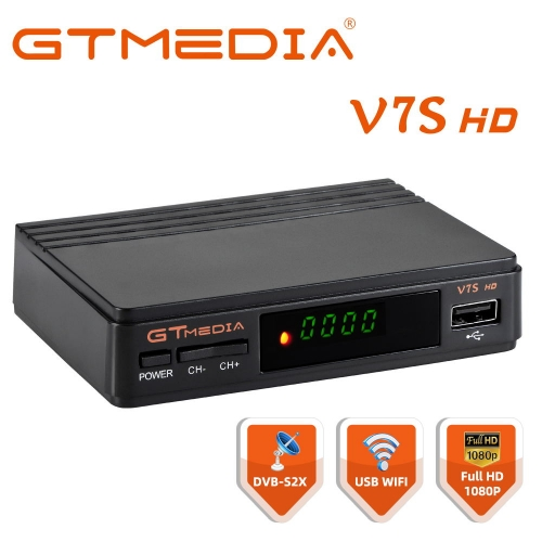 DVB-S2 V7S HD With USB WIFI FTA TV Receiver GTmedia V7S HD Power Through Freesat Support Network Sharing Satellite Receiver