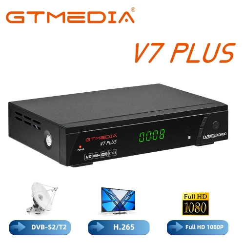 GTMEDIA V7PLUS Sat Decoder Terrestrial TV Receiver Satellite Decoder DVB-T/T2 DVB-S/S2 1080P Full HD H.265 HEVC MPEG-2/4