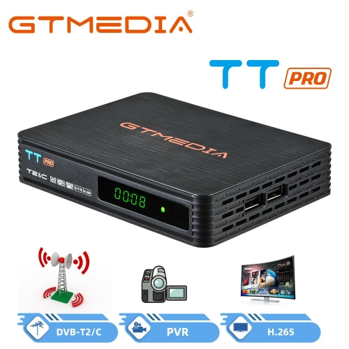 GTMEDIA TT Pro HD DVB-T/T2 Decoder Terrestrial TV Decoder Cable TV Receiver USB MPEG-2/4 H.265 HEVC 1080P Full HD PVR