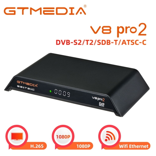 GT Media V8 PRO2 Receiver Satellite TV DTT Digital Terrestrial Decoder Cable DVB-S2 DVB-T2 DVB-C, WiFi/Ethernet/1080p Full HD/H.265 HEVC Support PVR