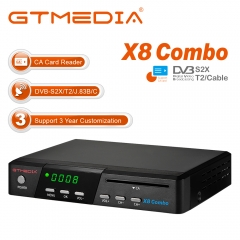 GTMEDIA X8 Combo HD Satellite Receiver FTA DVB-S2X/T2/C Built-in Galaxy 19.2E Digital TV Sat Decoder with 2.4GHz WiFi Auto Biss Key Powervu H.265 HEVC