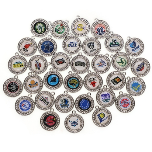 New Custom 32 designs rhinestone heart American football pendant charms