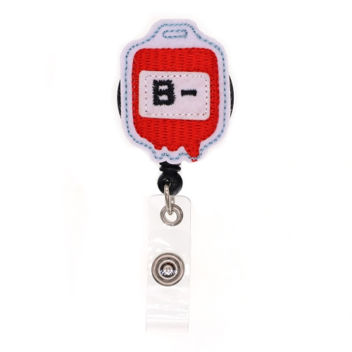 B- Blood Type Series Felt Badge Reel