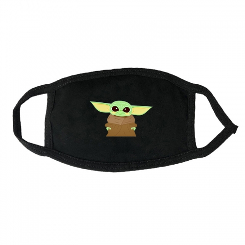 Fashionable breathable autumn and winter masks black and white mouth guard men's winter dustproof black and white printing Star Wars Yoda