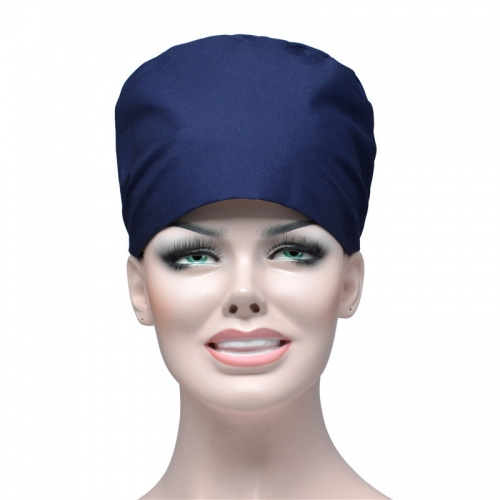 Solid color surgical cap dark blue tie beautician food textile factory dust cap dark blue anesthetist