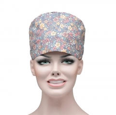 Medical nursr hat colorful animal print happy with face hat