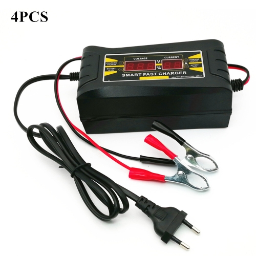 4 Sets Car Battery Charging Units Full Automatic Car Battery Charger 150V-250V To 12V 6A Jump Starter Wire EU Car Charger For Car Battery HD LCD Displ