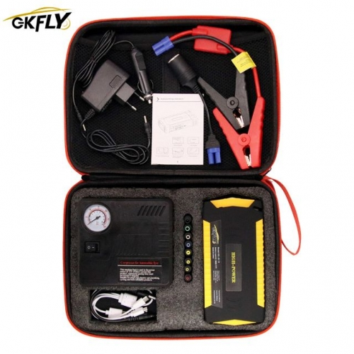 GKFLY Super Power Starting Device 12V 600A Car Jump Starter Air Pump Compressor For Petrol Die sel Car Battery Charger Booster