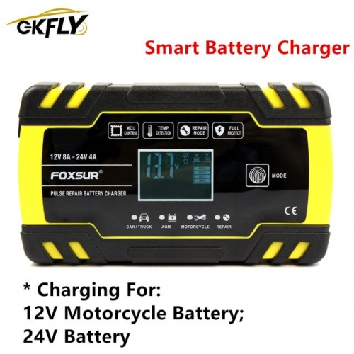 GKFLY Smart Battery Charger Full Automatic Car Battery Charger Jump Starter Wire With 3 Charge Stages Charge Protection For 12V/24V