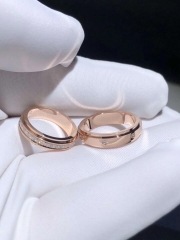 18K gold couple ring can rotate freely 360 degrees