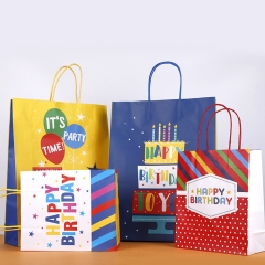 Custom Shopping with Logo Paper Gift Bag Birthday Stand Up Waterproof Kraft Bags