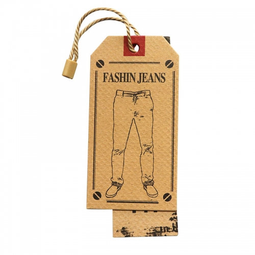 Personalized Tags Printed Paper Design Kraft Custom Logo Jeans Brand Clothing Hang Tag