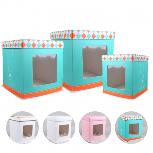 Boxes Wholesale Tall Birthday Packaging with Lid with Window Wedding Cake Box