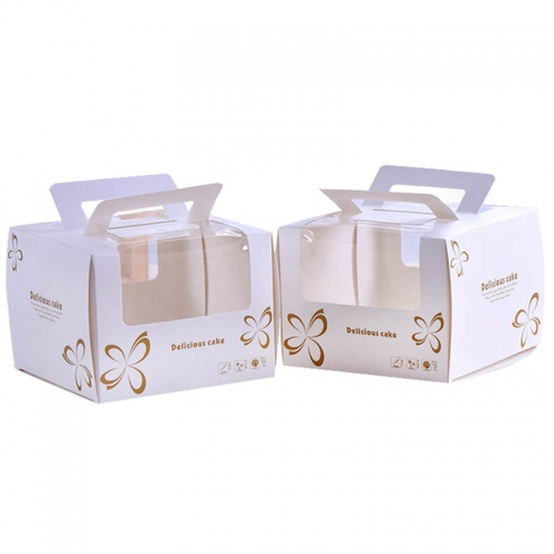 6 inch Paper Cake Box with Handle Printed Tall White Pvc Window Food Packaging Boxes