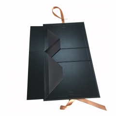 Black Gift Box with Ribbon Printed Paper Magnetic Folding Custom Flat Logo Packaging Boxes Design