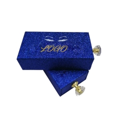 Private Label Blue Glitter Extension Empty Clear Drawer Paper Eyelash Custom Packaging Box