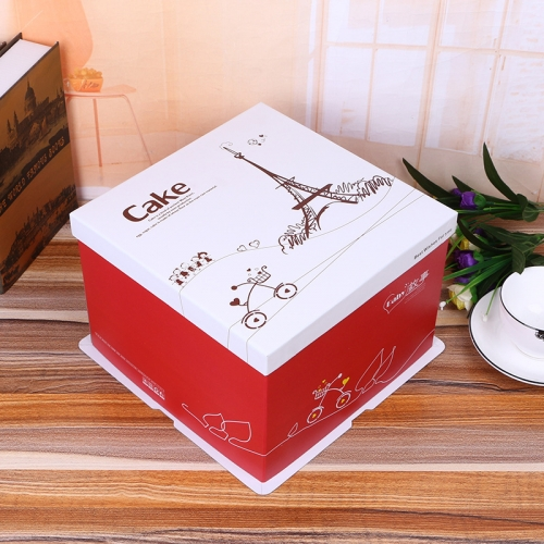 Custom High Quality Box Big Red with Lid Cardboard Paper 10 Inch Tall Wedding Cake Boxes Wholesale