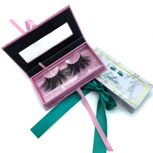 Pink Lash with Ribbon Glitter Empty Square Marble Private Label Eyelash Packaging Box Custom