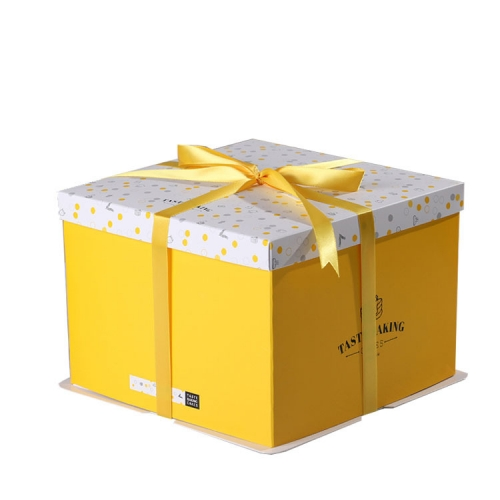 Cheap Square Boxes 8 Inch Plain Yellow Flower Big Cardboard Food Paper Birthday Cake Box