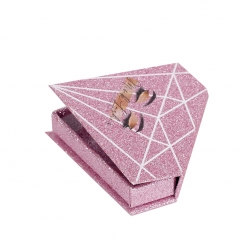 Custom Packaging Logo Magnetic Glitter Rhinestone Gold Lash Pink Diamond Eyelash Box