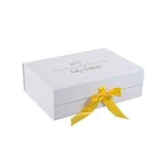 Custom Printed Boxes White Magnetic Gift Cardboard Folding Ribbon Box Packaging With Logo
