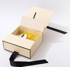 Gift Bow Box with Ribbon Magnetic Folding Luxury Packaging Packing Cardboard Custom Boxes