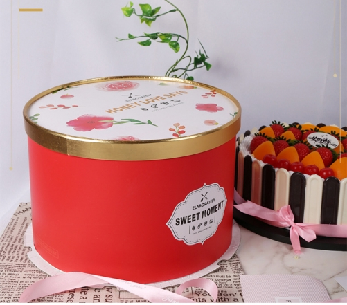 Custom Printed Boxes Luxury Gift Paper Packaging Cardboard Unique Large Birthday Round Cake Box