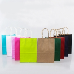 Customized Kraft Bag Colorful Color Supplier Plain Colored White Logo Paper Bags