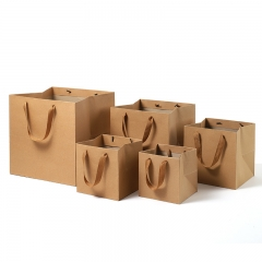 Kraft Paper 25Kg 3 Layers Small Bags Packaging Printed Logo Custom Brown Gift Bag With Ribbon