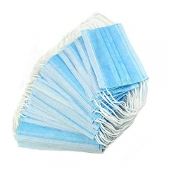 Blue and White 3 ply Disposable Non Woven Face Mask with Meltblown for Coronavirus COVID-19