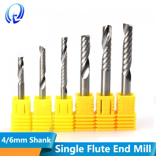 4-6mm Single Flute Spiral End Mill Carbide Milling Cutter CNC Router Bit Straight Shank End Mills
