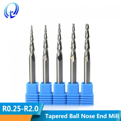 2 Flute Tapered Ball Nose End Mill R0.25 R2.0 Carbide CNC Router Bit End Milling Cut D4 D6 D8