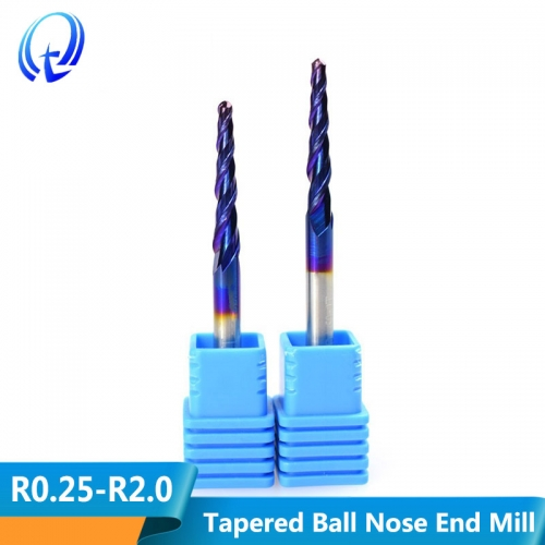 4mm 6mm 8mm Shank Tungsten Carbide Nano Blue Coated 2 Flute Tapered Ball Nose End Mills CNC